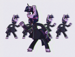 Size: 1600x1200 | Tagged: safe, artist:provolonepone, twilight sparkle, pony, unicorn, 80s, bowtie, clothes, female, glasses, mare, simple background, solo, song parody, song reference, suit, talking heads, unicorn twilight
