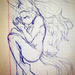 Size: 1080x1080 | Tagged: safe, artist:beyond_inside, oc, oc only, unicorn, anthro, eyes closed, horn, lineart, nudity, signature, sleeping, solo, traditional art, unicorn oc