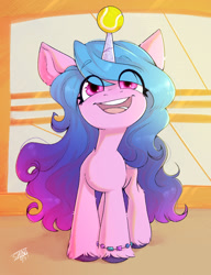 Size: 1162x1512   Tagged: safe, artist:shini951, izzy moonbow, pony, unicorn, g5 movie, bracelet, female, g5, horn, horn guard, horn impalement, hornball, jewelry, little, mare, open mouth, signature, smiling, solo, tennis ball, unshorn fetlocks