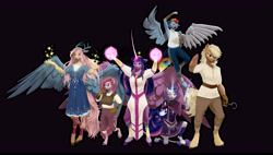 Size: 10600x6000 | Tagged: safe, artist:imafutureguitarhero, artist:penrosa, applejack, fluttershy, pinkie pie, rainbow dash, rarity, twilight sparkle, alicorn, butterfly, classical unicorn, draconequus, earth pony, pegasus, pony, unicorn, anthro, unguligrade anthro, fanfic:my little pony: the unexpected future, the cutie re-mark, 3d, absurd resolution, alternate timeline, amputee, apocalypse dash, arm fluff, armor, artificial wings, augmented, belt, black background, choker, claw marks, clothes, cloven hooves, colored eyebrows, commission, crown, crystal war timeline, curved horn, detailed hair, draconequified, dress, ear fluff, element of harmony, eye scar, fangs, female, film grain, fluffy, fluffy hair, fluffy mane, fluffy tail, flutterequus, flying, freckles, fur, glowing, glowing horn, group, group shot, horn, impossibly large horn, jewelry, large wings, leg fluff, leg wraps, leonine tail, long hair, long horn, long mane, long tail, looking at you, magic, magic aura, magic glow, mane six, mare, missing eye, missing hand, missing limb, missing wing, multicolored hair, multicolored mane, multicolored tail, nail polish, pants, prosthetic limb, prosthetic wing, prosthetics, raised arm, raised leg, recursive fanart, red eyes, regalia, revamped anthros, revamped ponies, robe, scar, shawl, shirt, signature, simple background, sleeveless, sleeveless shirt, slit pupils, smiling, smug, source filmmaker, sparkly hair, sparkly mane, sparkly tail, species swap, standing, standing on one leg, stump, tunic, twilight sparkle (alicorn), unshorn fetlocks, wall of tags, wings, wrench