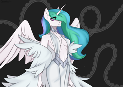 Size: 4093x2894 | Tagged: safe, artist:chickenbrony, princess celestia, alicorn, anthro, absolute cleavage, belly button, breasts, cleavage, clothes, dress, female, horn, kill la kill, looking at you, navel cutout, ragyo kiryuin, solo, wings