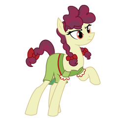 Size: 3084x3088 | Tagged: safe, artist:three uncle, hilly hooffield, earth pony, pony, the hooffields and mccolts, background pony, bow, clothes, female, hair bow, hooffield family, mare, pigtails, pose, simple background, solo, vector