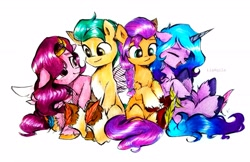 Size: 3481x2249 | Tagged: safe, artist:liaaqila, hitch trailblazer, izzy moonbow, pipp petals, sunny starscout, earth pony, pegasus, pony, unicorn, g5, adorapipp, commission, cute, eyes closed, feather, female, fetish, group, hoof fetish, izzybetes, laughing, looking at each other, male, mare, markings, open mouth, pale belly, raised hoof, raised leg, simple background, sitting, socks (coat markings), stallion, sunnybetes, tickle fetish, tickle torture, tickling, traditional art, underhoof, unshorn fetlocks, white background