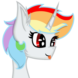 Size: 768x768   Tagged: safe, artist:rainbow dash is best pony, oc, oc only, oc:rainbowrio, alicorn, pony, alicorn oc, bleep, horn, simple background, solo, tongue out, transparent background, wings