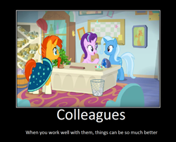 Size: 1072x860   Tagged: safe, artist:thejboy88, phyllis, starlight glimmer, sunburst, trixie, a horse shoe-in, motivational poster, scroll, starlight's office