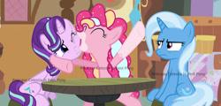 Size: 1920x919   Tagged: safe, artist:celestiaisbestponyyt, pinkie pie, starlight glimmer, trixie, pony, unicorn, eyes closed, female, mare, sitting