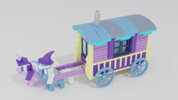 Size: 1280x720   Tagged: safe, artist:awesomeaustinv, starlight glimmer, trixie, pony, unicorn, road to friendship, duo, duo female, female, lego, mare, trixie's wagon, wagon