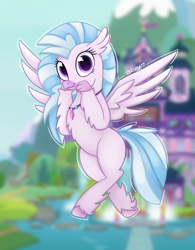 Size: 2500x3200 | Tagged: safe, artist:rivin177, silverstream, classical hippogriff, hippogriff, school daze, cute, diastreamies, female, flying, jewelry, necklace, pond, school of friendship, signature, solo, student six, wings, young 6