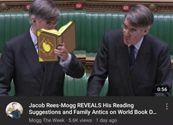 Size: 1080x782 | Tagged: safe, screencap, human, apple family reunion, apple, barely pony related, book, food, jacob rees-mogg, youtube