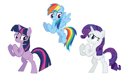 Size: 1265x780 | Tagged: safe, artist:benpictures1, rainbow dash, rarity, twilight sparkle, pegasus, pony, unicorn, dragon quest, bipedal, female, fighting stance, flying, implied spike, inkscape, simple background, trio, trio female, unicorn twilight, vector, white background
