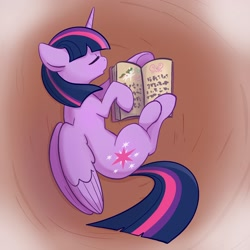 Size: 2048x2048 | Tagged: safe, artist:pfeffaroo, twilight sparkle, alicorn, pony, book, bookhorse, eyes closed, female, high res, lying down, mare, on side, open book, open mouth, profile, sleeping, solo, that pony sure does love books, twilight sparkle (alicorn), wings
