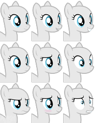 Size: 1824x2354 | Tagged: safe, artist:amgiwolf, oc, oc only, earth pony, pony, bald, base, bust, earth pony oc, expressions, female, frown, mare, simple background, smiling, transparent background, wide eyes, worried