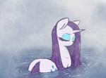 Size: 2155x1600 | Tagged: safe, artist:t72b, rarity, pony, unicorn, bath, bathing, cute, eyes closed, fog, raribetes, rear view, solo, steam, water, wet, wet mane, wet mane rarity