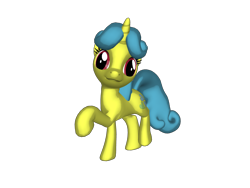 Size: 1200x900 | Tagged: safe, artist:nintenblock64, lemon hearts, pony, unicorn, 3d, 3d pony creator, cutie mark, dancing, derp, female, heart, hooves, mare, ponylumen, pose, raised hoof, raised leg, simple background, smiling, transparent background