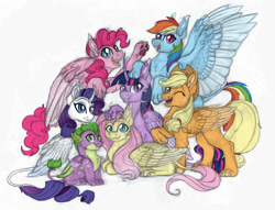 Size: 1024x783   Tagged: safe, artist:celticsphinx, applejack, fluttershy, pinkie pie, rainbow dash, rarity, spike, twilight sparkle, sphinx, colored sketch, female, male, mane seven, mane six, mane six opening poses, one eye closed, simple background, species swap, sphinxified, white background, wink
