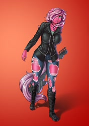 Size: 708x1000   Tagged: safe, artist:pia-sama, oc, oc:pynk hyde, unicorn, anthro, boots, clothes, guitar, horn, jacket, jeans, musical instrument, pants, rocker, shoes, solo, torn clothes