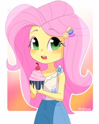 Size: 2283x2843   Tagged: safe, artist:morusae, fluttershy, equestria girls, abstract background, blushing, cherry, clothes, cupcake, cute, eyeshadow, female, food, high res, holding, looking at you, makeup, shyabetes, solo