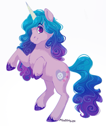 Size: 703x834   Tagged: safe, artist:pigeorgien, izzy moonbow, pony, unicorn, cute, female, g5, gradient mane, izzybetes, looking at you, mare, raised hoof, rearing, signature, simple background, smiling, solo, unshorn fetlocks, white background
