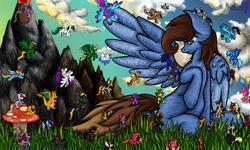 Size: 854x512 | Tagged: safe, artist:dracarnius, oc, oc only, oc:bman64, oc:dreamer skies, oc:yoshi ringo, earth pony, pegasus, unicorn, 3ds, earth pony oc, fetish, horn, macro, micro, mountain, mushroom, pegasus oc, pony oc, scenery, small pony, unicorn oc