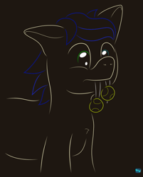 Size: 605x753 | Tagged: safe, artist:quint-t-w, oc, oc only, oc:silly words, pony, sabertooth pony, fangs, heterochromia, male, minimalist, modern art, simple background, solo, tennis ball