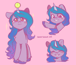 Size: 1896x1618 | Tagged: safe, artist:cottonsweets, izzy moonbow, pony, unicorn, g5, blushing, chest fluff, cute, eyes closed, female, horn, horn guard, horn impalement, hornball, izzy's tennis ball, izzybetes, looking at you, mare, pink background, simple background, smiling, smiling at you, solo, sparkles, tennis ball, unshorn fetlocks, waving