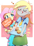 Size: 1038x1412 | Tagged: safe, artist:nendo, derpy hooves, fluttershy, equestria girls, :p, abstract background, blushing, carrying, clothes, cute, dress, duo, duo female, eyes closed, female, food, heart, muffin, necktie, pointing, shirt, sign, skirt, that pony sure does love muffins, tongue out