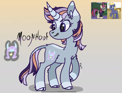 Size: 2189x1668   Tagged: safe, artist:caramelbolt24, moondancer, star tracker, oc, classical unicorn, pony, unicorn, abstract background, cloven hooves, crack ship offspring, ear fluff, glasses, horn, jewelry, leonine tail, looking back, necklace, offspring, parent:moondancer, parent:star tracker, raised hoof, screencap reference, signature, smiling, unicorn oc, unshorn fetlocks