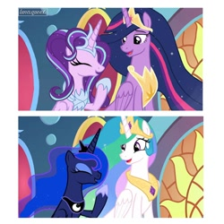 Size: 1080x1080 | Tagged: safe, artist:luna.queex, edit, edited screencap, screencap, princess celestia, princess luna, starlight glimmer, twilight sparkle, alicorn, pony, the last problem, alicornified, comparison, ethereal mane, eyelashes, eyes closed, female, hoof shoes, horn, jewelry, laughing, mare, older, older twilight, peytral, princess twilight 2.0, race swap, siblings, sisters, starlicorn, starry mane, tiara, twilight sparkle (alicorn), wings, xk-class end-of-the-world scenario