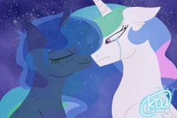 Size: 1500x1000 | Tagged: safe, artist:kaifeather, princess celestia, princess luna, alicorn, pony, crying, eyes closed, female, mare, regret, regretful celestia, sad, sadlestia, sorry
