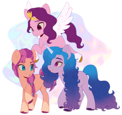 Size: 1280x1201 | Tagged: safe, artist:delzol, izzy moonbow, pipp, sunny starscout, earth pony, pegasus, pony, unicorn, abstract background, braid, female, g5, looking at each other, mare, open mouth, raised hoof, simple background, smiling, spread wings, transparent background, unshorn fetlocks, wings
