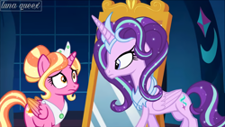 Size: 1920x1080 | Tagged: safe, artist:luna.queex, edit, edited screencap, screencap, luster dawn, starlight glimmer, alicorn, pony, a royal problem, alicornified, duo, ethereal mane, female, horn, indoors, mare, mirror, peytral, race swap, starlicorn, starry mane, wings, worried, xk-class end-of-the-world scenario