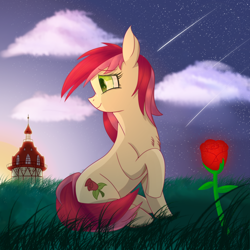 Size: 2500x2500 | Tagged: safe, artist:divifilly, roseluck, earth pony, pony, flower, rose, sky, solo
