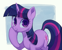 Size: 560x451 | Tagged: safe, artist:toroitimu, twilight sparkle, pony, unicorn, cute, female, looking at you, mare, raised hoof, smiling, solo, twiabetes, unicorn twilight
