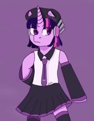 Size: 1508x1930 | Tagged: safe, artist:theedgyduck, twilight sparkle, unicorn, clothes, crossover, defoko, detached sleeves, female, hand on chest, hat, mare, necktie, skirt, solo, standing up, standing upright, unicorn twilight, uta utane, utauloid