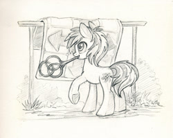 Size: 990x788 | Tagged: safe, artist:maytee, oc, oc only, earth pony, pony, monochrome, sketch, solo