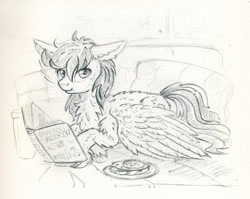 Size: 999x795 | Tagged: safe, artist:maytee, oc, oc only, pegasus, pony, monochrome, sketch, solo