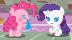 Size: 3427x1920 | Tagged: safe, artist:beavernator, edit, pinkie pie, rarity, earth pony, pony, unicorn, babity, baby, baby pie, baby pony, blue dress, blushing, cropped, cute, diapinkes, female, hair gel, lipstick, makeup, mare, nom, raribetes, source in the description, younger