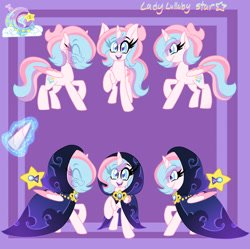 Size: 1280x1274 | Tagged: safe, artist:ladylullabystar, oc, oc:lullaby star, alicorn, pony, cloak, clothes, female, mare, reference sheet, solo