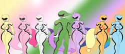 Size: 1280x560 | Tagged: safe, artist:gh0stzr01, applejack, fluttershy, pinkie pie, rainbow dash, rarity, spike, twilight sparkle, alicorn, dragon, earth pony, pegasus, unicorn, anthro, big breasts, breasts, busty applejack, busty fluttershy, busty mane six, busty pinkie pie, busty rainbow dash, busty rarity, busty twilight sparkle, clothes, crossover, curvy, digital art, female, group, helmet, horn, hourglass figure, huge breasts, male, mane seven, mane six, muscles, muscular male, power rangers, simple background, skintight clothes, suit, tail, thighs, twilight sparkle (alicorn), wasp waist, wide hips