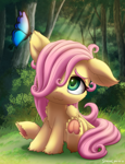 Size: 2000x2600 | Tagged: safe, artist:symbianl, fluttershy, butterfly, pegasus, pony, :3, cute, daaaaaaaaaaaw, female, filly, filly fluttershy, floppy ears, frog (hoof), hair over one eye, hoofbutt, shyabetes, smiling, solo, symbianl is trying to murder us, underhoof, weapons-grade cute, wings, younger