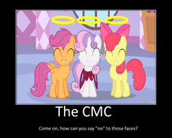 Size: 1075x860 | Tagged: safe, artist:thejboy88, edit, edited screencap, screencap, apple bloom, scootaloo, sweetie belle, stare master, cutie mark crusaders, halo, motivational poster