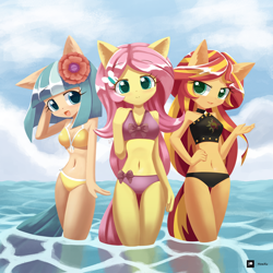 Size: 1250x1250 | Tagged: safe, artist:howxu, coco pommel, fluttershy, sunset shimmer, anthro, adorasexy, belly button, bikini, blushing, breasts, busty coco pommel, busty fluttershy, busty sunset shimmer, cleavage, clothes, cloud, cocobetes, cute, ear fluff, eyelashes, female, hand on hip, looking at you, open mouth, patreon, patreon logo, sexy, shimmerbetes, shyabetes, sky, swimsuit, trio, water
