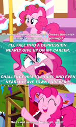 Size: 2000x3362 | Tagged: safe, edit, edited screencap, screencap, pinkie pie, pinkie pride, angry, caption, comic, eyes closed, faic, image macro, implied cheese sandwich, implied rainbow dash, open mouth, overreaction, sad, screencap comic, scrunchy face, smiling, text