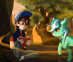Size: 1195x1024 | Tagged: safe, artist:yuris, lyra heartstrings, human, pony, unicorn, book, cap, crossover, dipper pines, forest, gravity falls, hat, sunset, tree, wood, yellow eyes