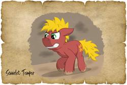 Size: 1500x1000 | Tagged: safe, alternate version, artist:malte279, oc, oc:scarlet temper, earth pony, tails of equestria, npc, parchment, robin hood, will scarlet