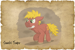 Size: 1024x683 | Tagged: safe, alternate version, artist:malte279, oc, oc:scarlet temper, earth pony, tails of equestria, npc, parchment, robin hood, will scarlet