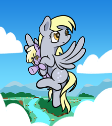 Size: 1920x2164 | Tagged: safe, artist:dinkyuniverse, derpy hooves, dinky hooves, pegasus, pony, unicorn, carrying, cloud, cloudy, equestria's best daughter, equestria's best mother, female, filly, flying, mare, mother and child, mother and daughter, river, sky, smiling, twirling