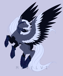 Size: 2076x2500 | Tagged: safe, artist:minelvi, oc, oc only, pegasus, pony, clothes, commission, ear fluff, eyelashes, gray background, pegasus oc, rearing, signature, simple background, socks, solo, wings, ych result