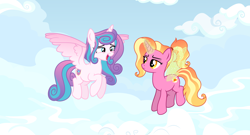 Size: 12118x6534 | Tagged: safe, artist:kojibiose, luster dawn, princess flurry heart, alicorn, pony, unicorn, absurd resolution, artificial wings, augmented, cloud, cutie mark, female, females only, flying, horn, magic, magic wings, mare, older, older flurry heart, sky, wings