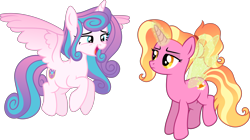 Size: 7828x4373 | Tagged: safe, artist:kojibiose, luster dawn, princess flurry heart, pony, absurd resolution, flying, magic, older, simple background, transparent background, wings
